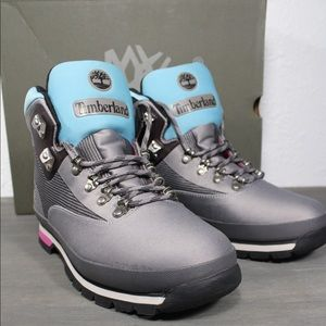 Timberland Euro Hiker Jacquard Boots Gray Blue 11